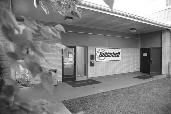 Twitchell Technical Products entrance, black and white photo